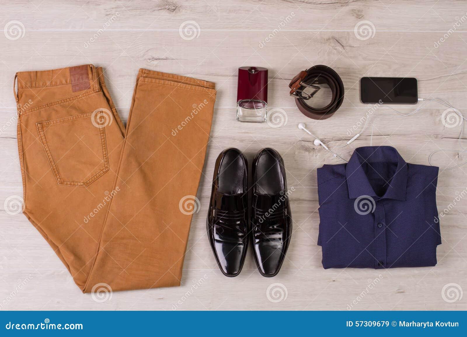 Collage av moderna mäns kläder