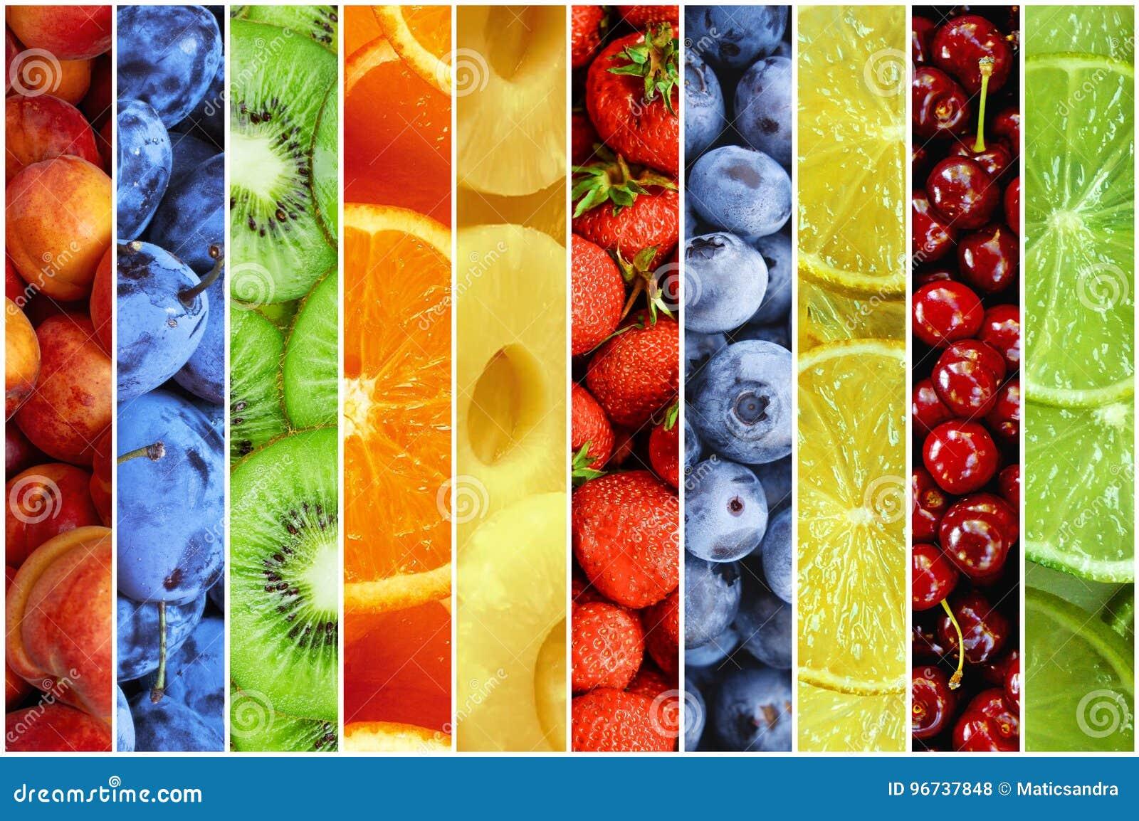 Collage av ny sommarfrukt i form av vertikala band