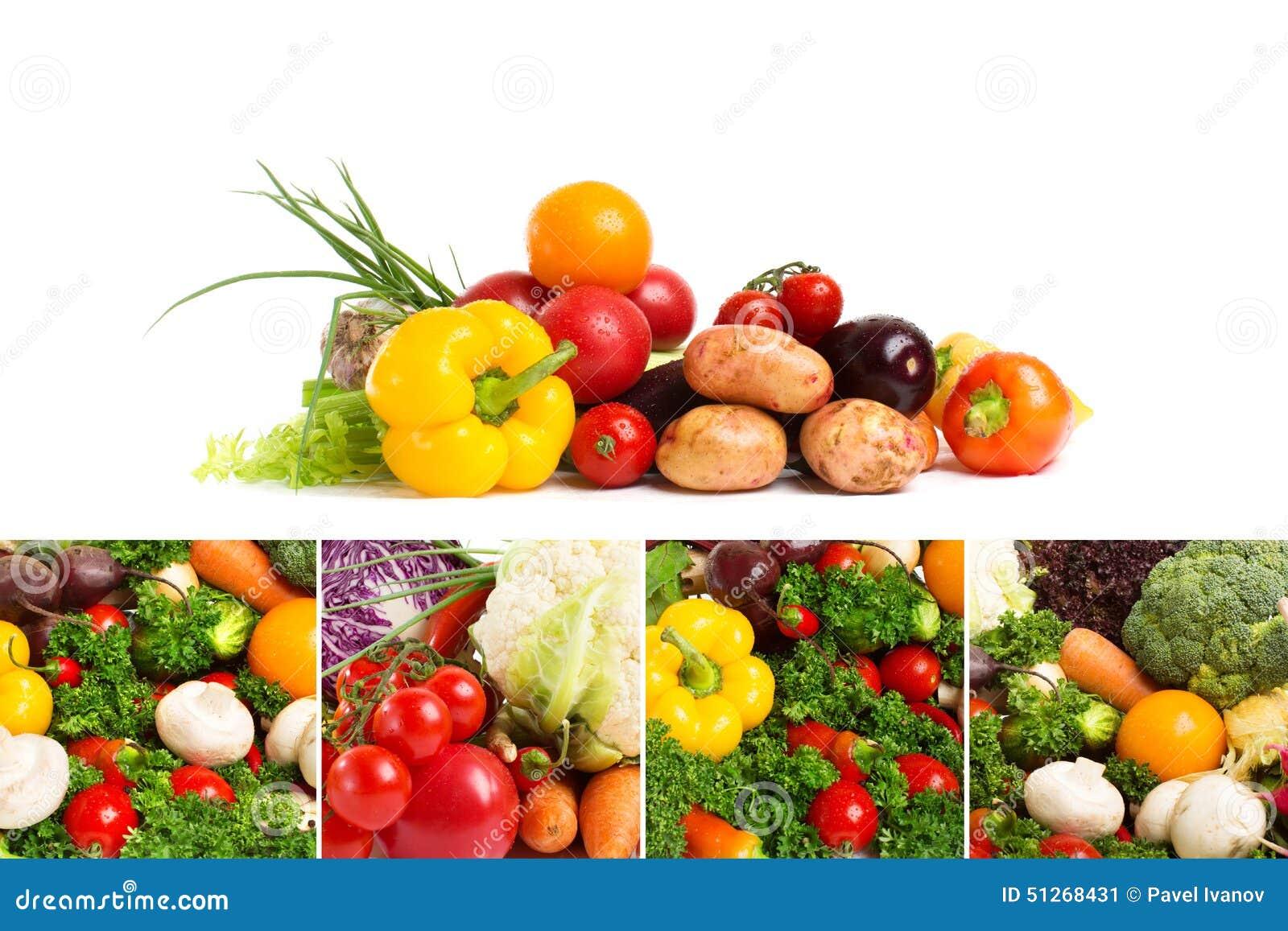 Collage av nya grönsaker