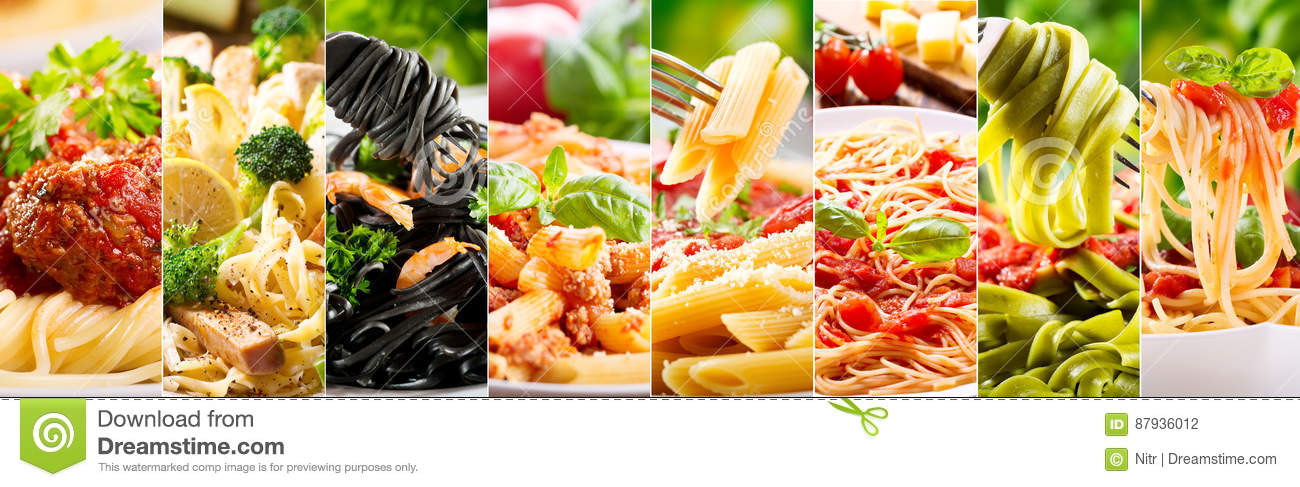 Collage av olik pasta