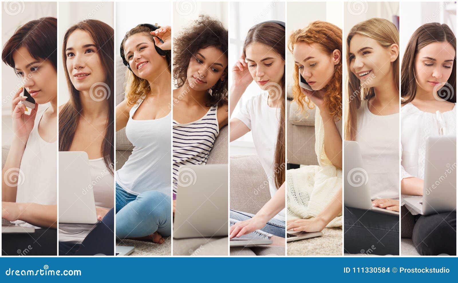 Collage av olika kvinnor som talar på mobil