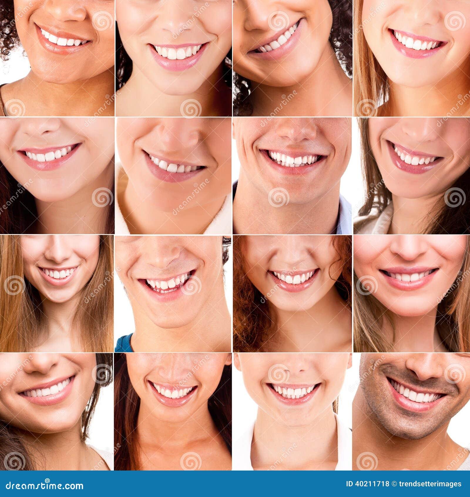 Collage av olika leenden