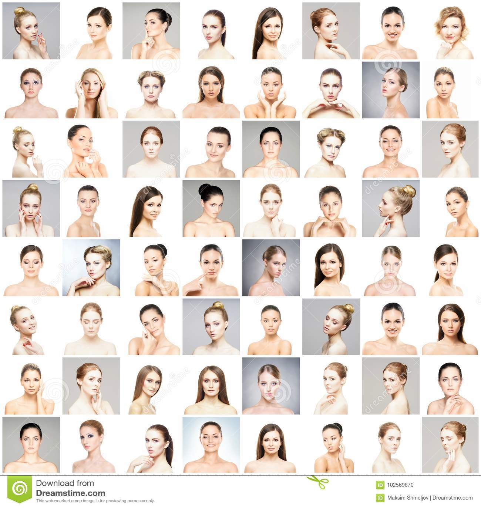 Collage av olika stående av unga kvinnor i makeup