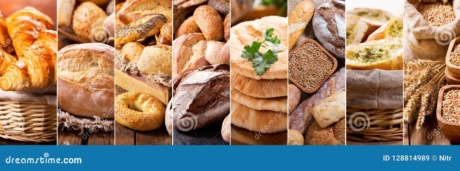 Collage av olika typer av nytt bröd