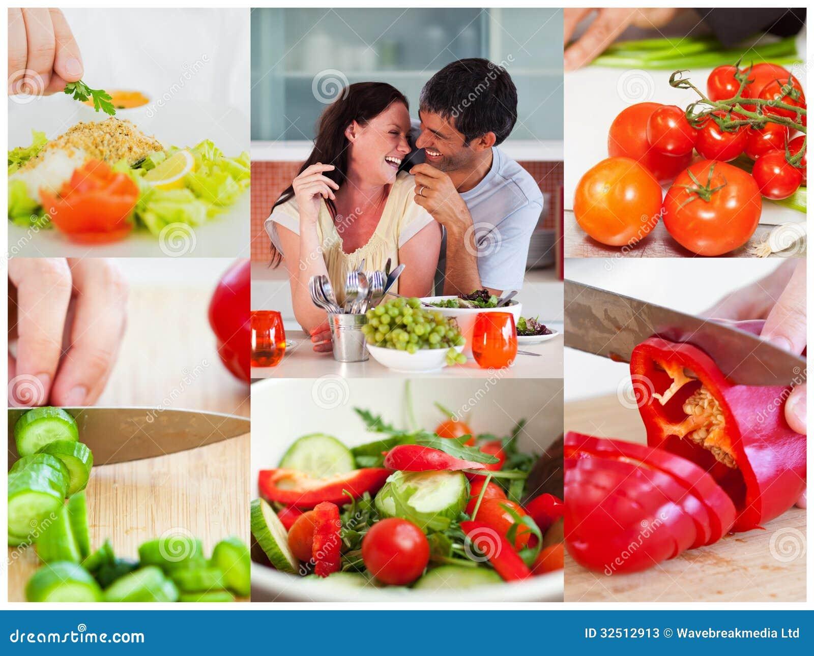 Collage av par som äter sund sallad