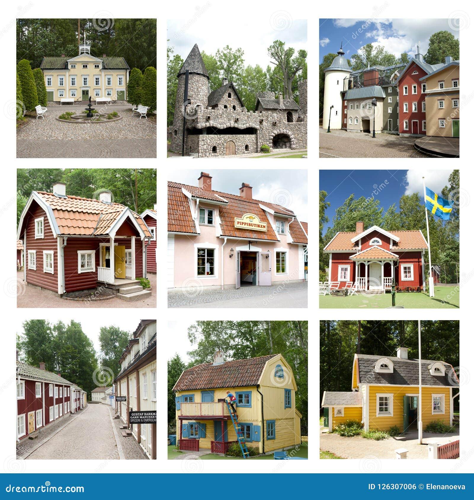 Collage av sikter av världen för Astrid Lindgren ` s, Astrid Lindgrens Va