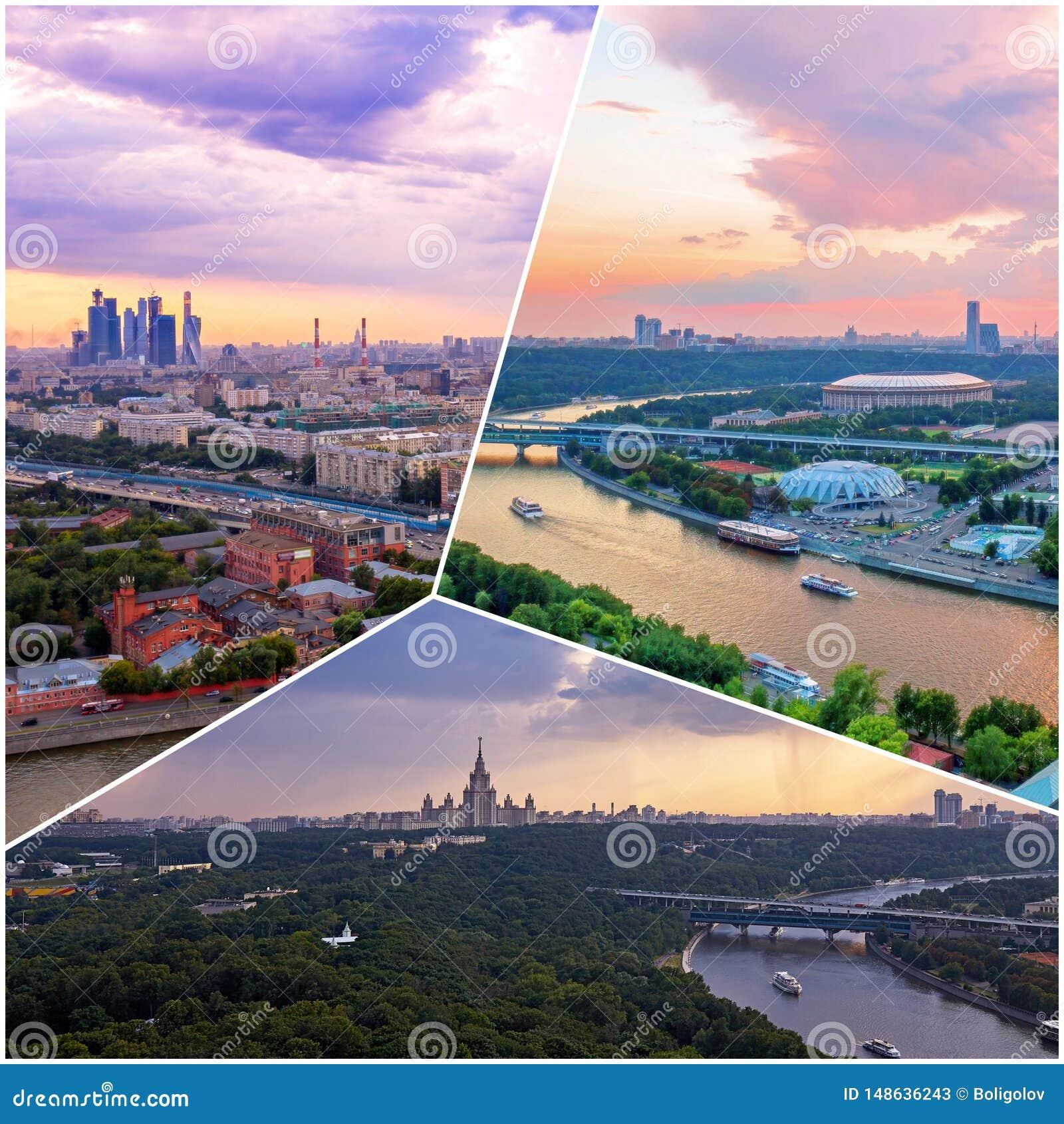 Collage av solnedgångsikter ovanför Moskva med molnreflexioner i stadsfloden och att resa fartyg och bron