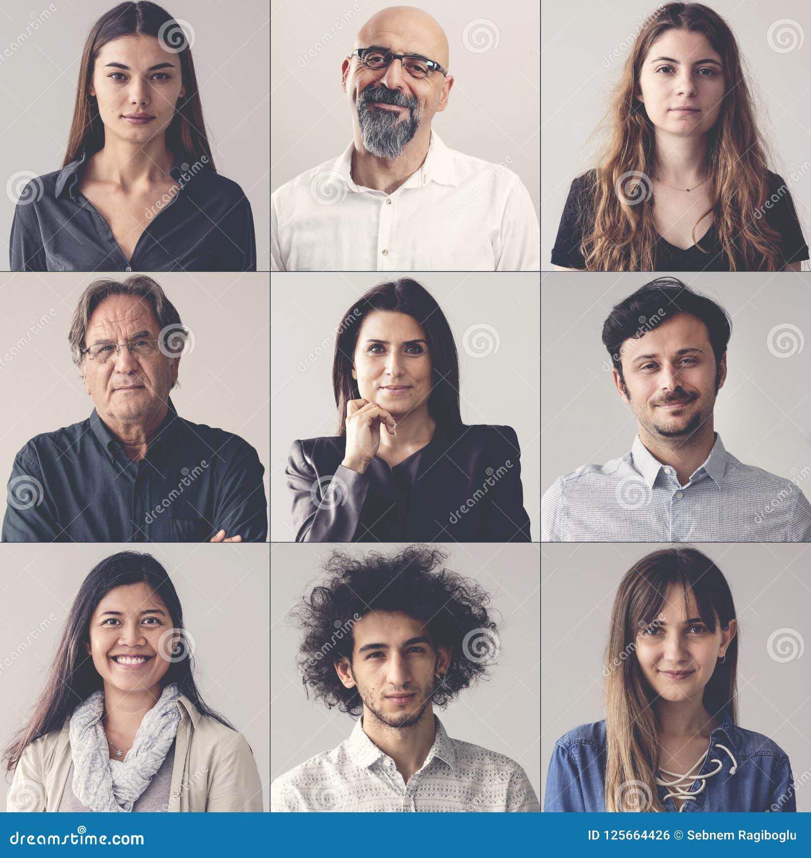 Collage av stående som ler män och kvinnor