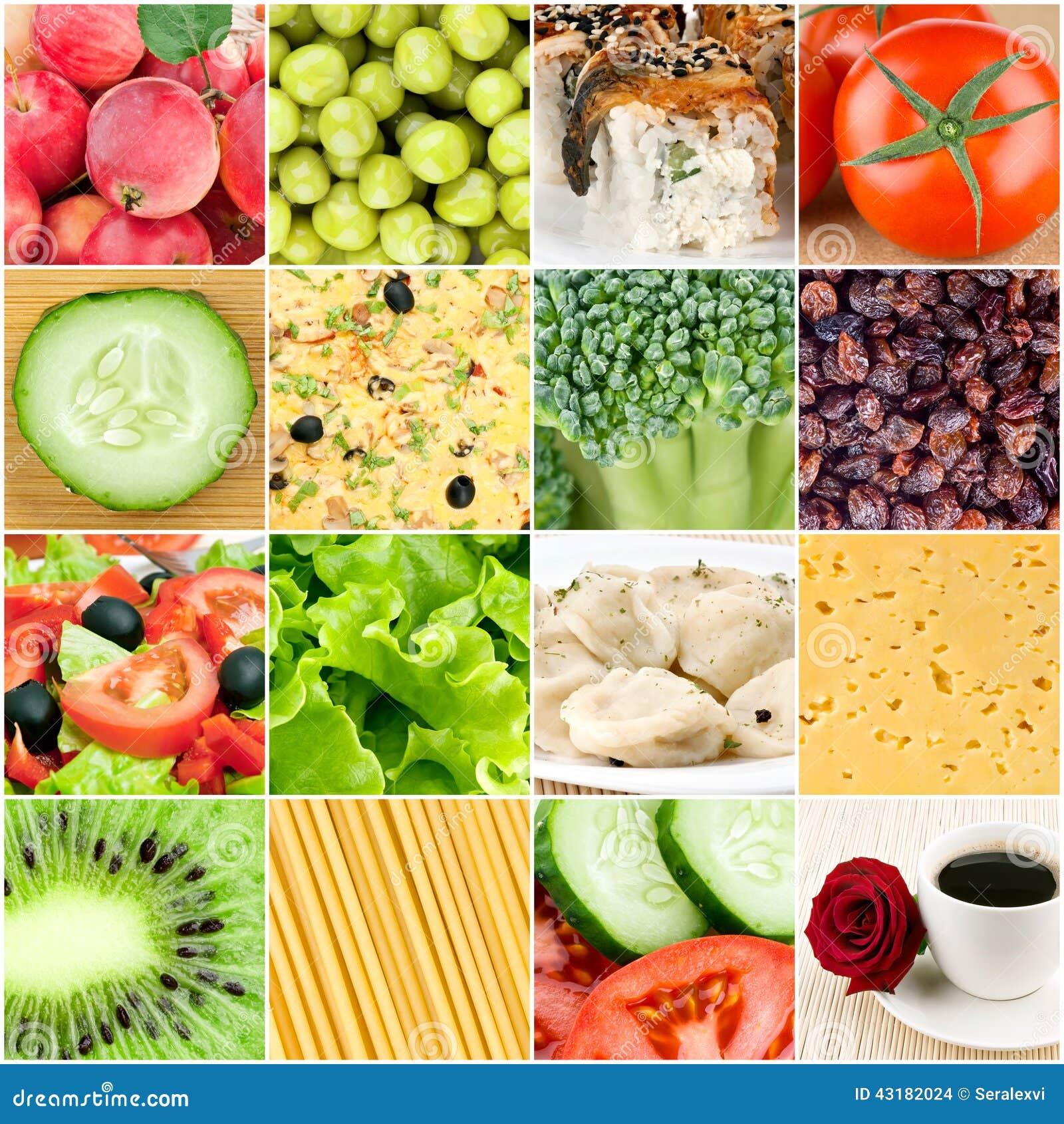Collage av sunda matbakgrunder