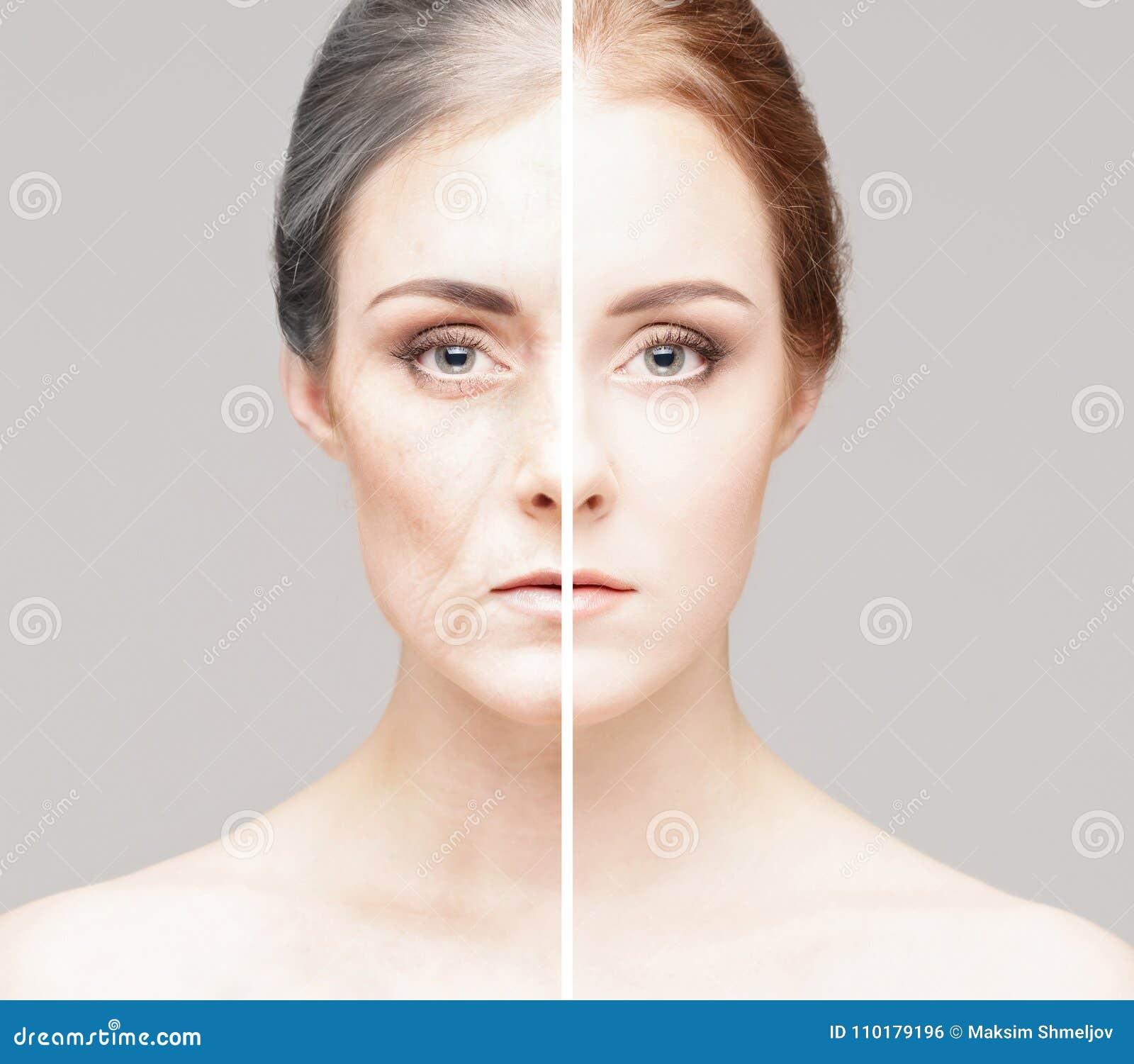 Collage av två stående av den samma gamla kvinnan och unga flickan