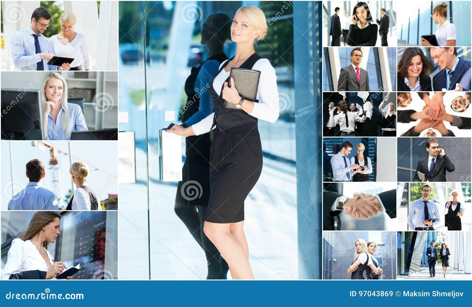 Collage av ungt affärsfolk