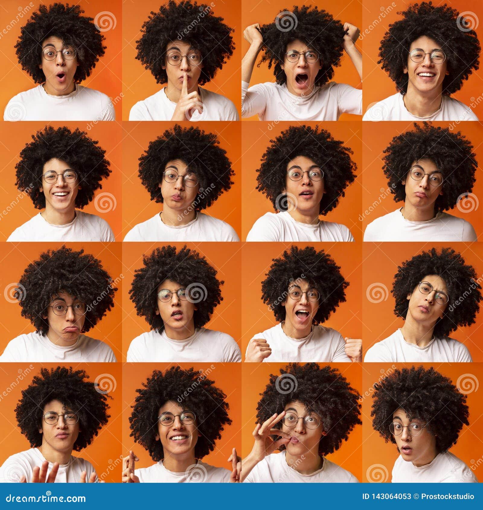 Collage av uttryck och sinnesrörelser för ung man