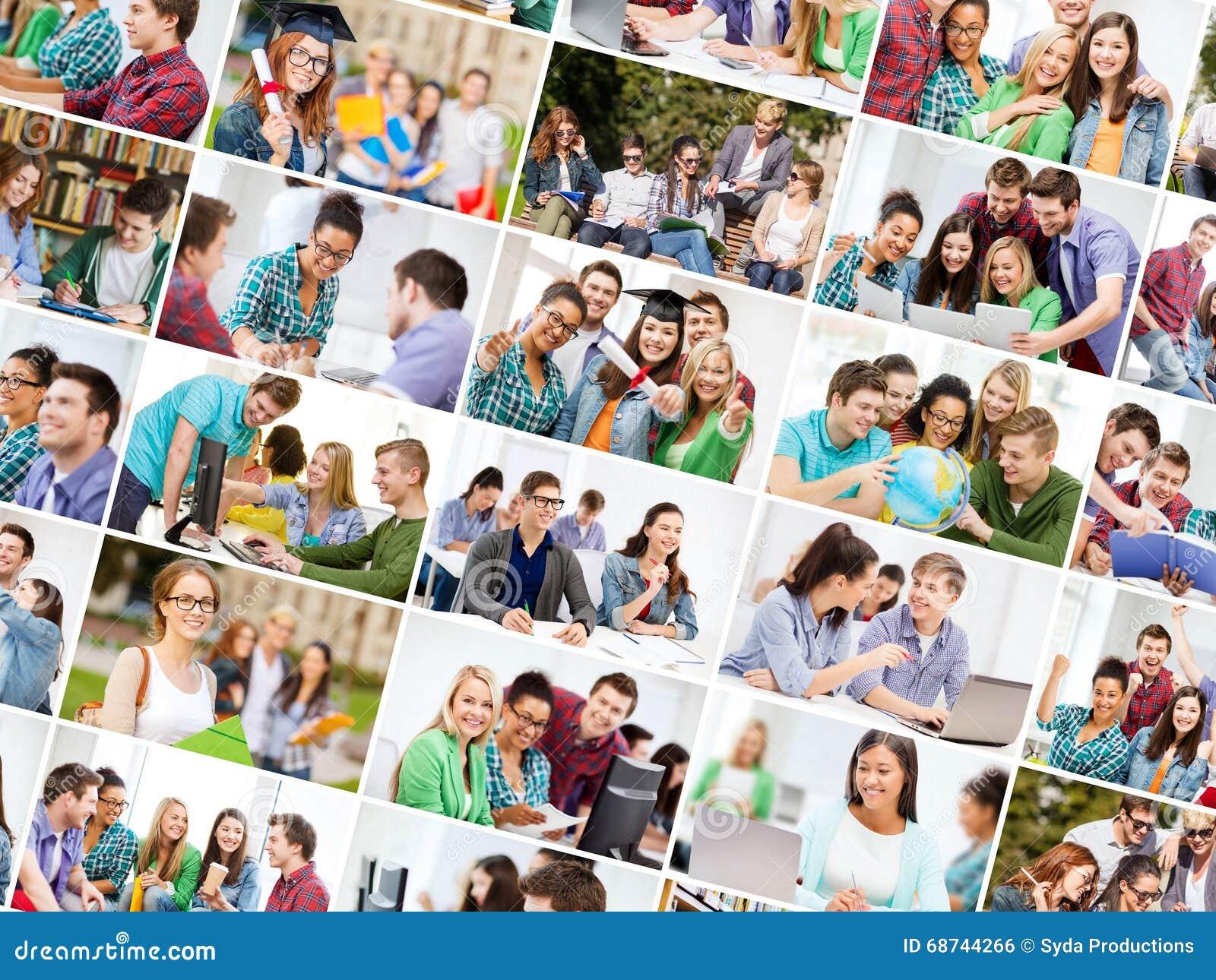 Collage avec beaucoup de photos des étudiants universitaires