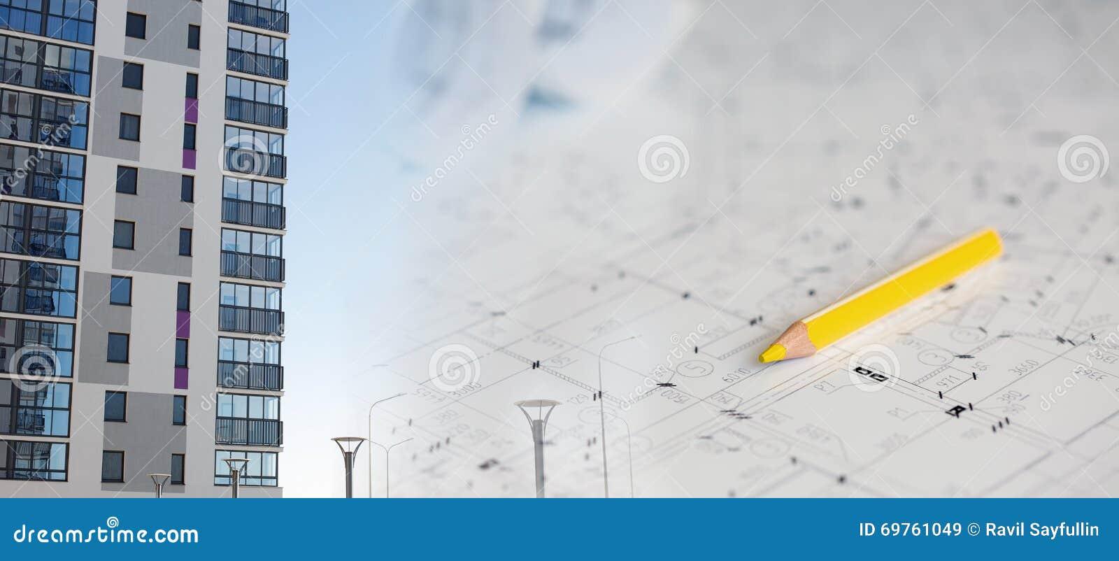 Collage avec des plans de construction et un bâtiment moderne photo stock