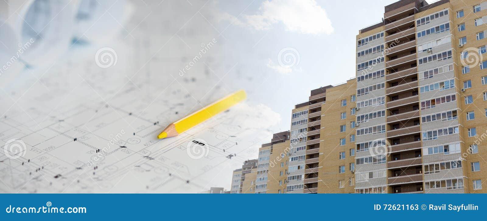 Collage avec des plans de construction et un bâtiment moderne