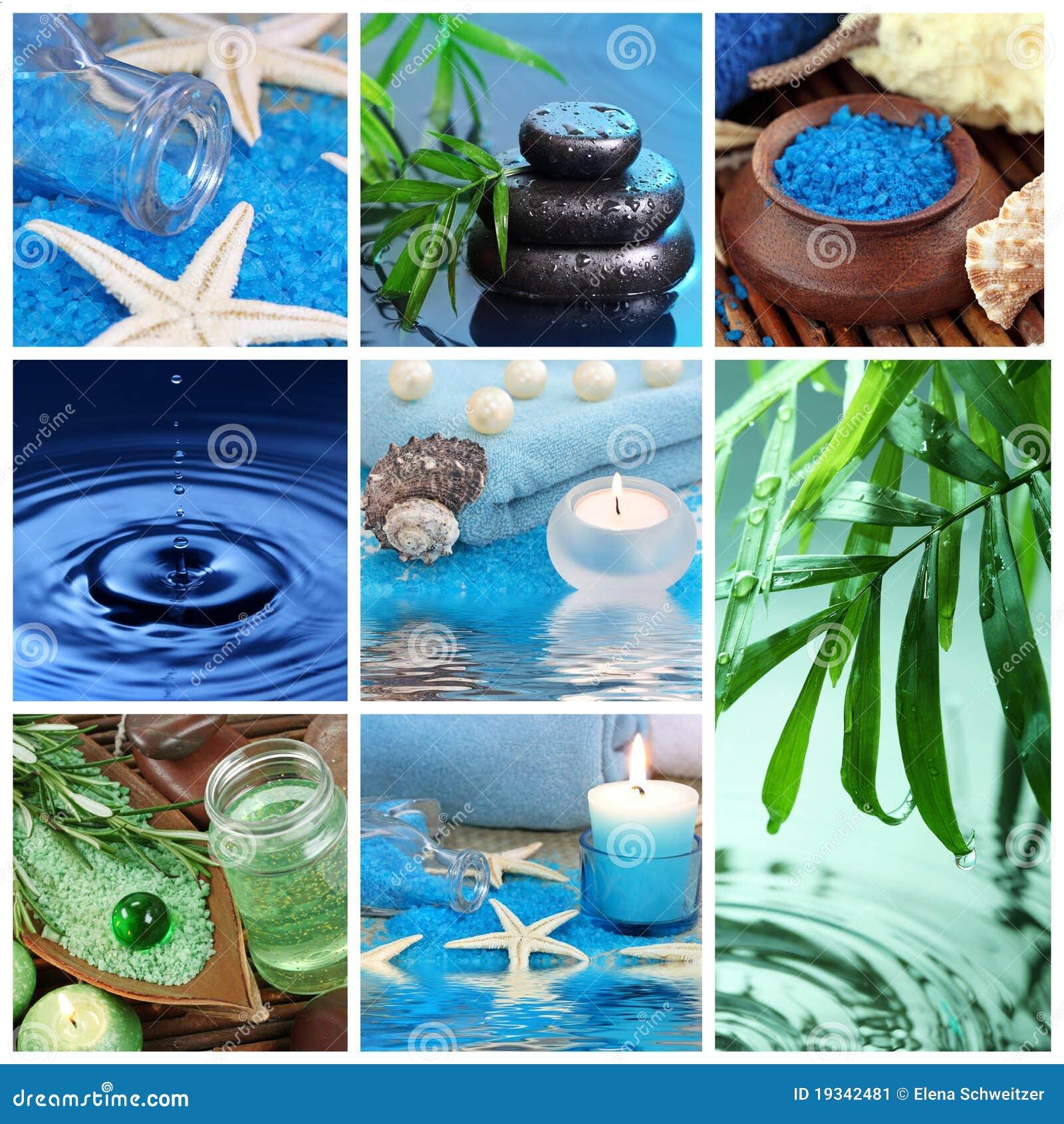 Collage azul del balneario