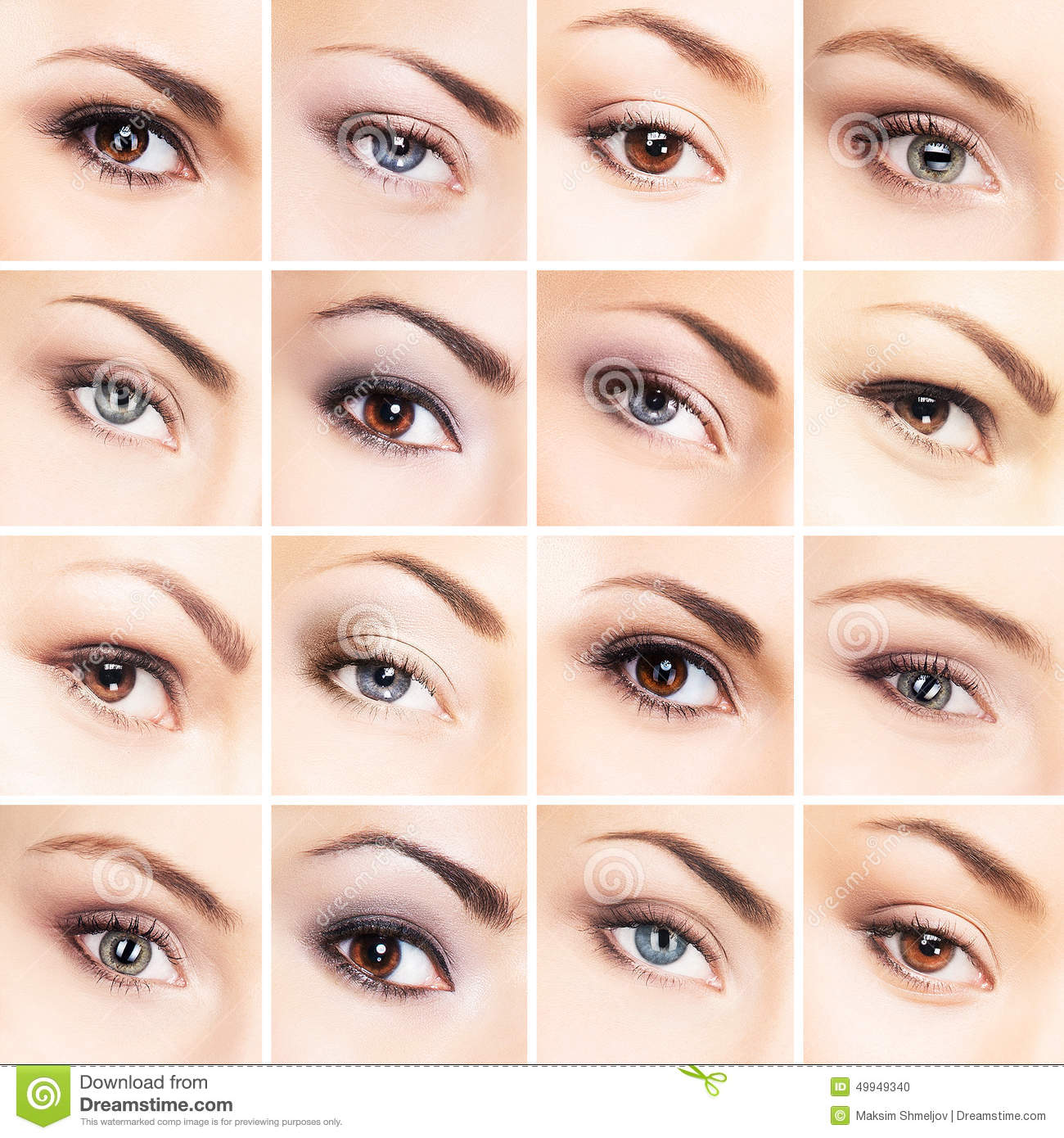 Collage Of Beautiful Female Eyes With Makeup Stock Photo Image Of