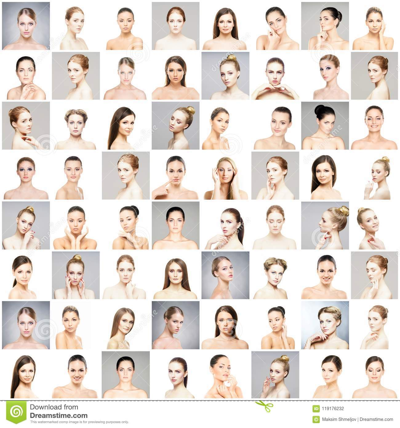 Collage of beautiful, healthy and young spa female portraits. Faces of different women. Face lifting, skincare, plastic