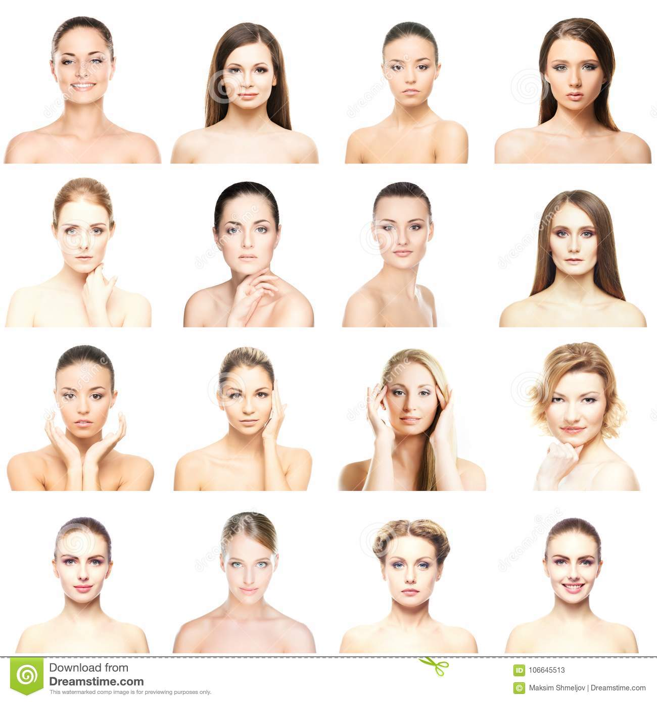 Collage of beautiful, healthy and young spa portraits. Faces of different women. Face lifting, skincare, plastic surgery