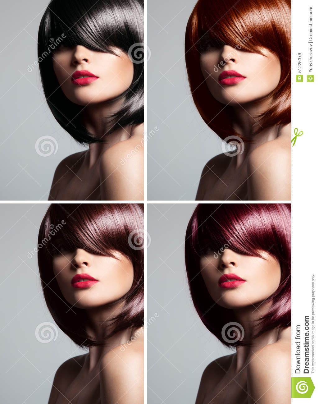 Collage Of A Beautiful Woman With Mixed Color Hair Stock Image