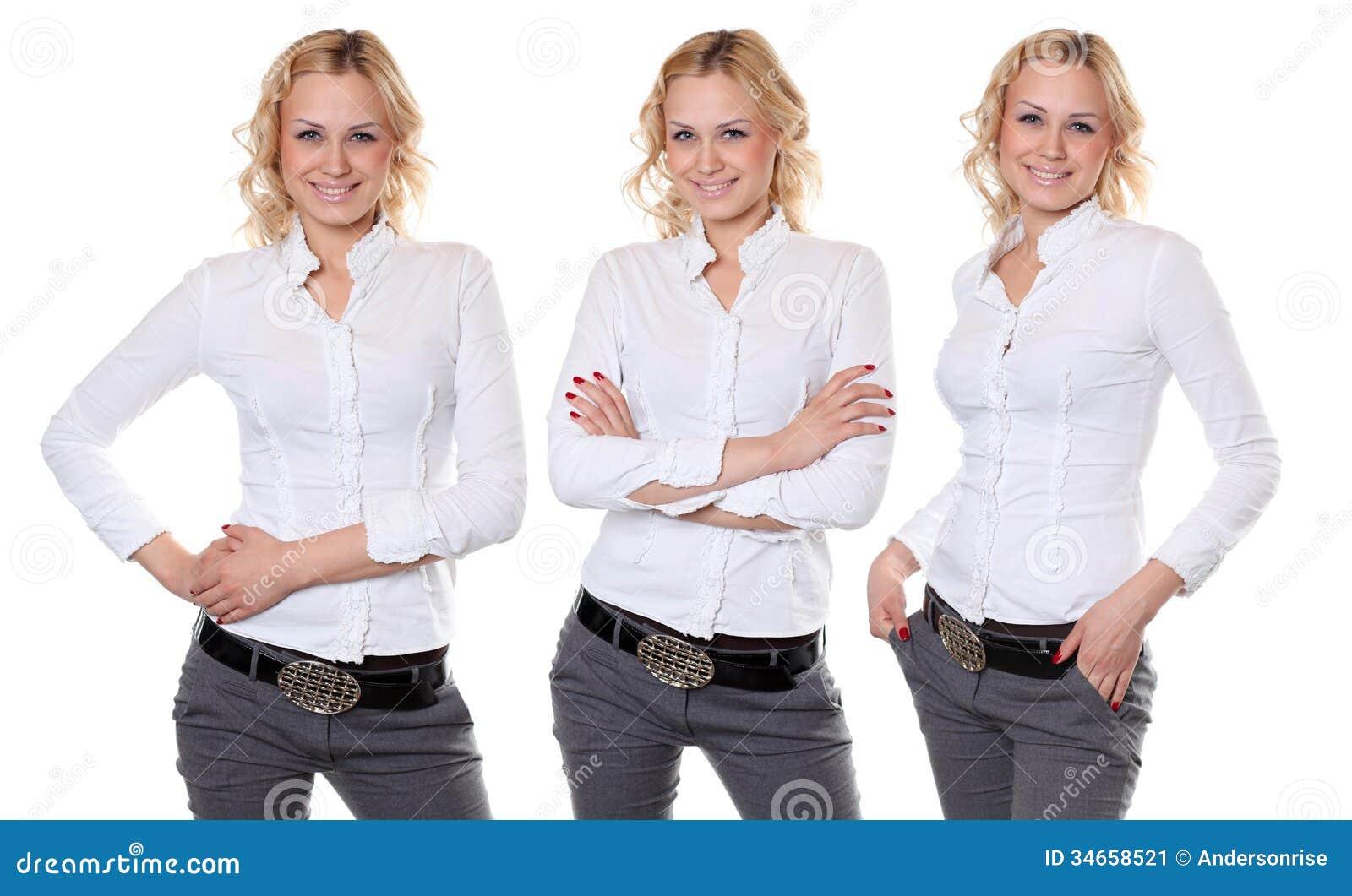 Collage Beautiful Women In White Shirt Stock Image - Image: 34658521