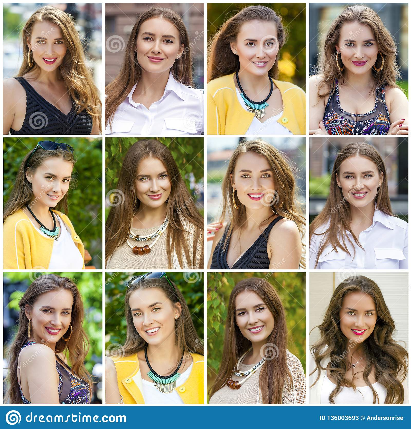 Collage of beautiful young women