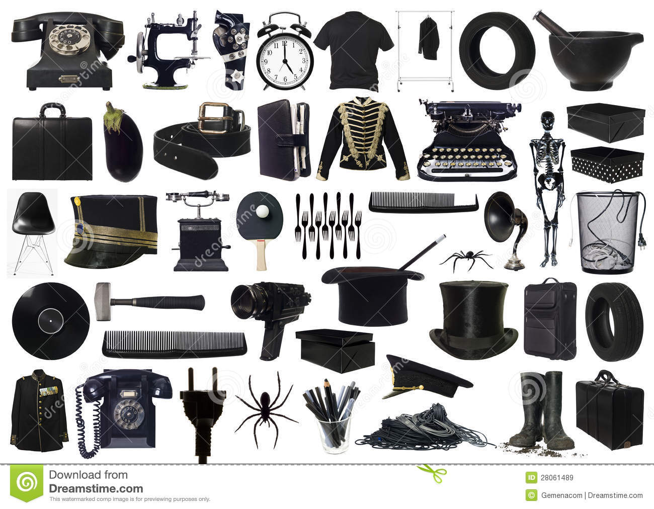 Collage Of Black Objects Stock Image. Image Of White