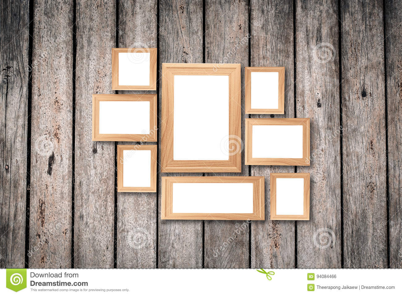 Collage Of Blank Brown Wooden Frames Interior Decor Mock Up On