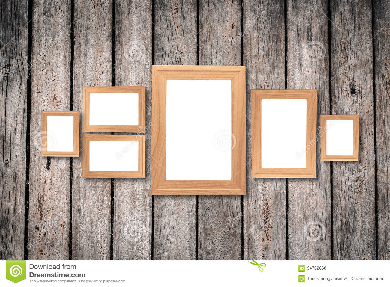Collage Of Blank Brown Wooden Frames , Interior Decor Mock Up On ...