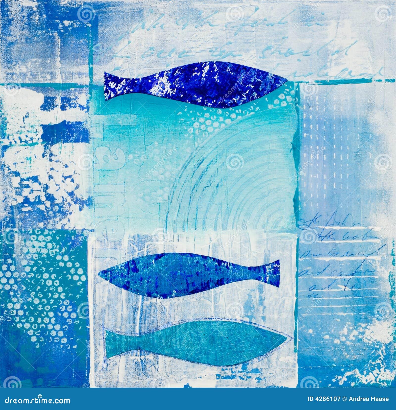 Collage blu dei pesci