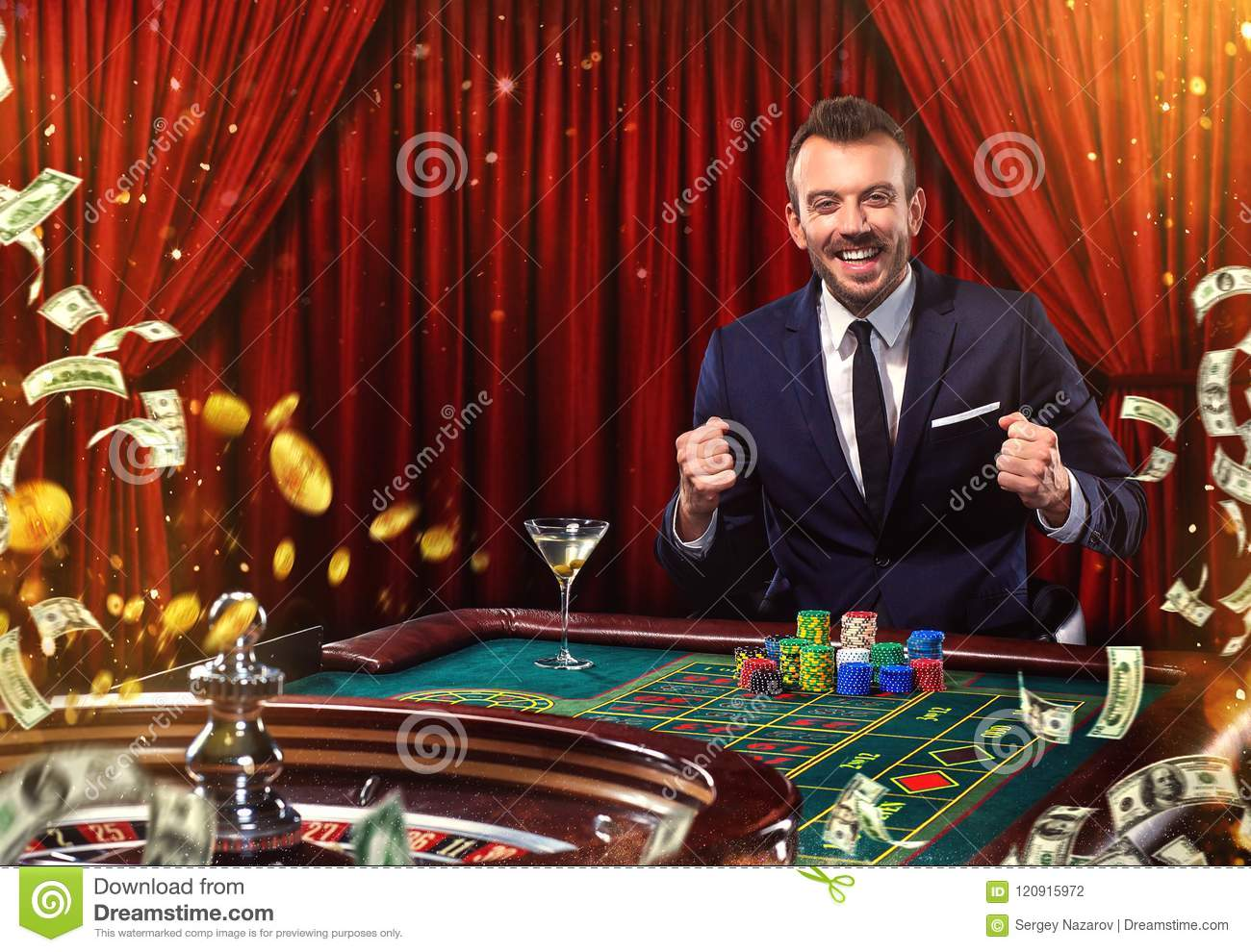 Collage of casino images with man play poker roulette at the table. Young man in suit playing in the casino. Gambling.