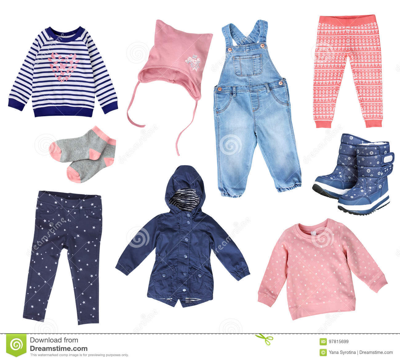 cd7076f2816b Collage Of Child Girl Fashion Clothes Isolated. Stock Image - Image ...