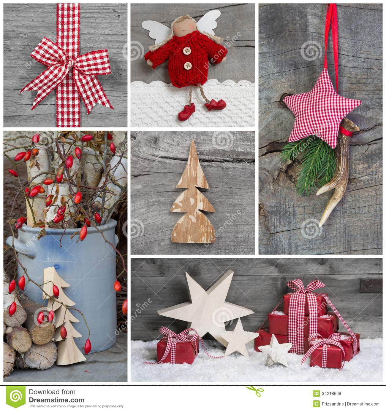 Collage Of Christmas Photos And Decorations On Grey Wooden