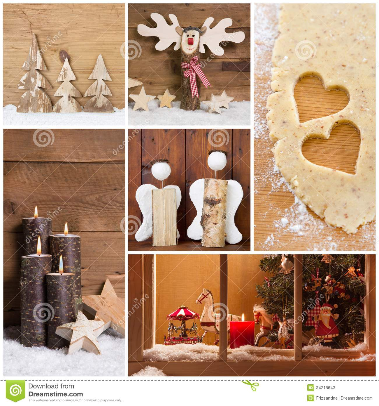 Collage of christmas photos and decorations on warm brown for Different christmas decorations