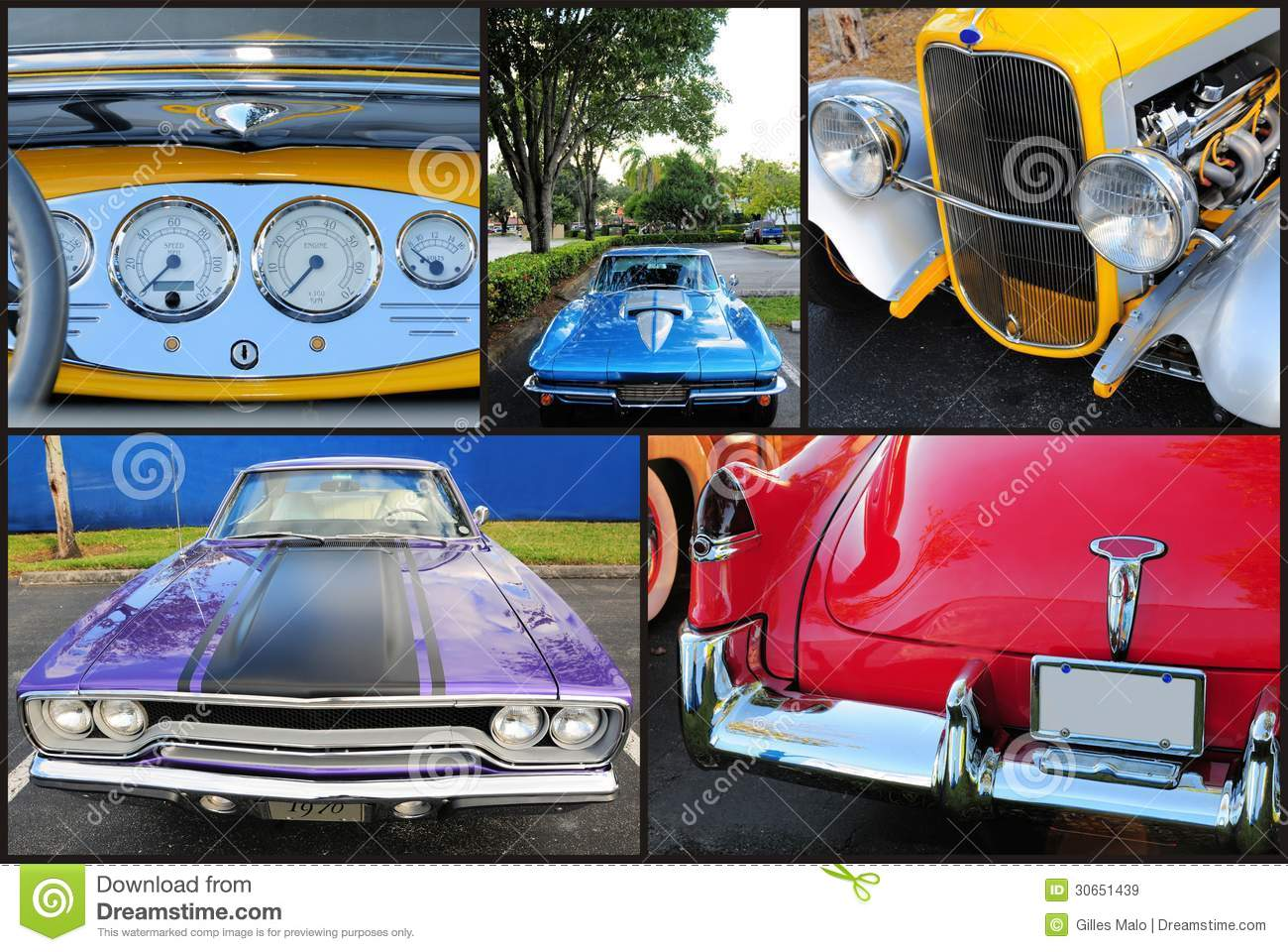 Collage Of Classic Cars Royalty Free Stock Images Image