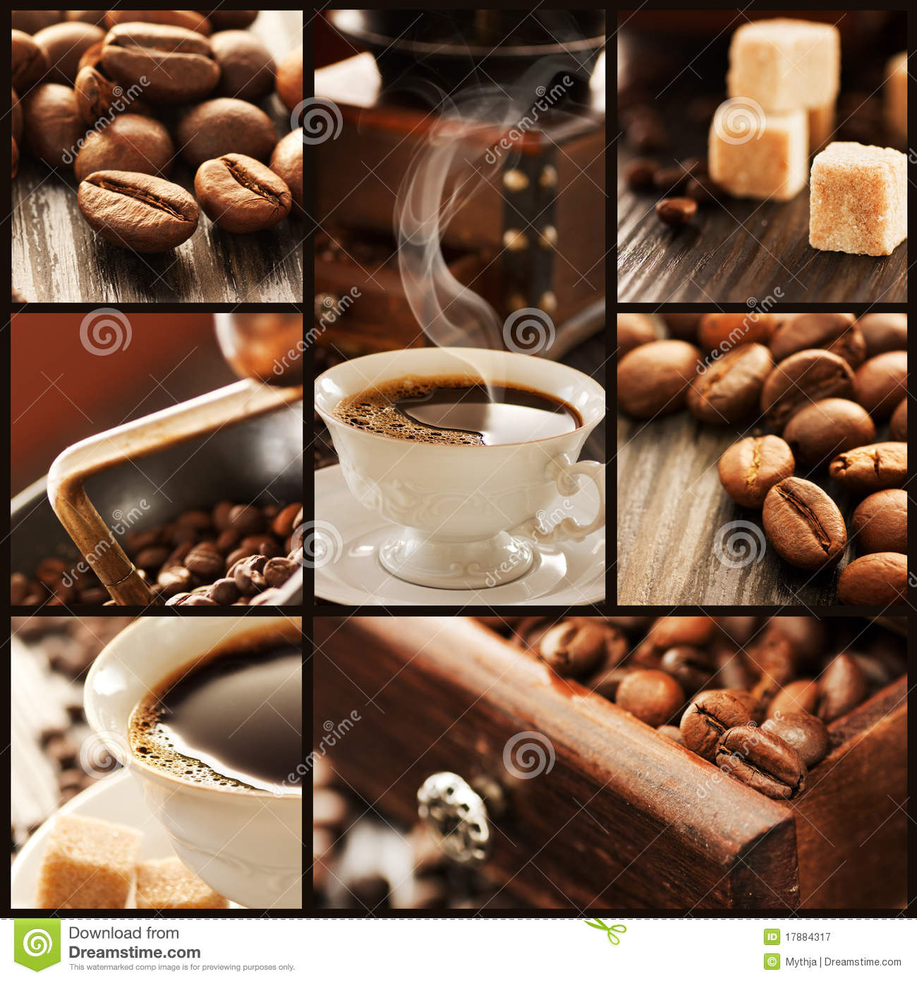 Collage of coffee details.