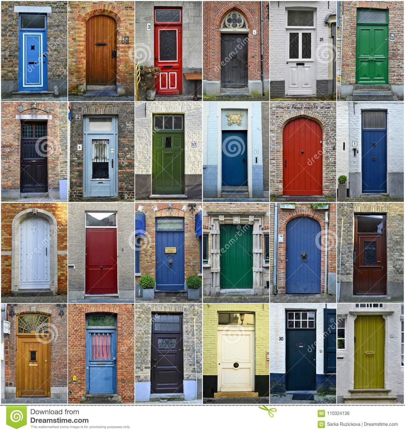 Download Collage Of Colorful Doors In Bruges Belgium Editorial Photo - Image of collage & Collage Of Colorful Doors In Bruges Belgium Editorial Photo - Image ...