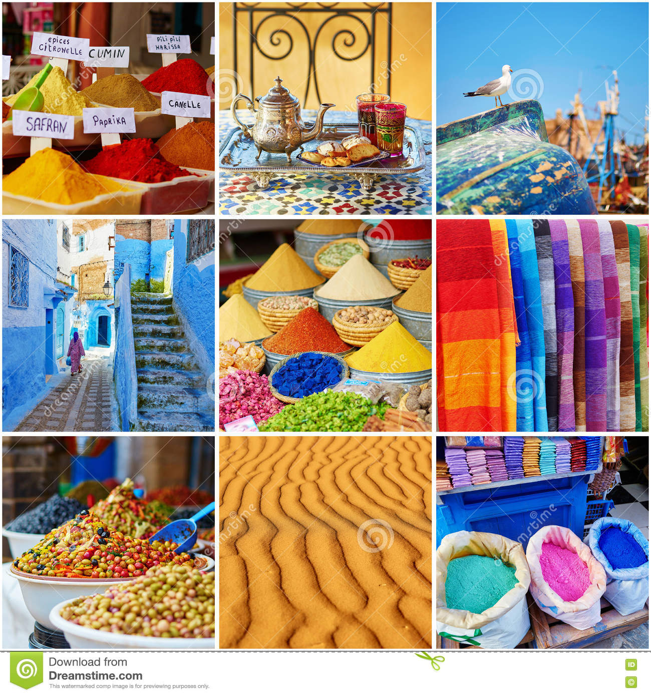 Download Collage With Colorful Moroccan Photos Stock Photo - Image of africa, cooking: 74832278