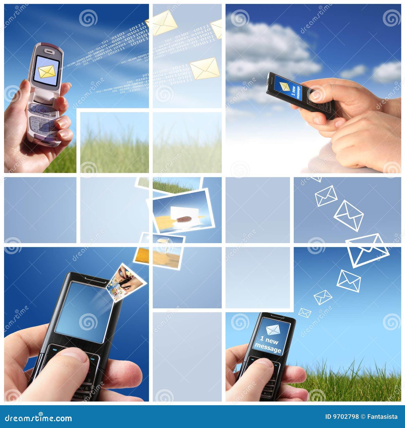 Collage. Communicatie concept.