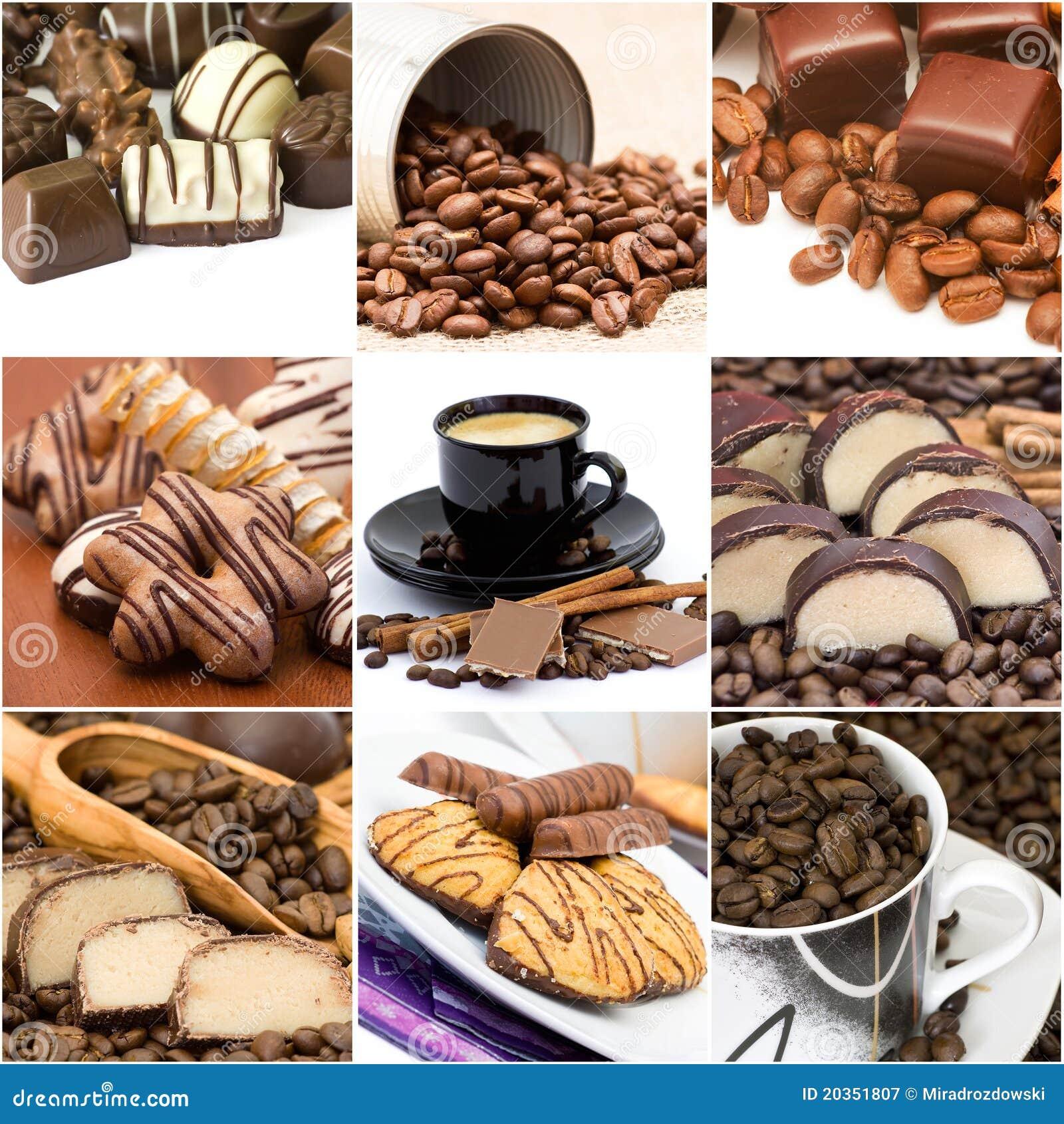 Collage con café, chocolate y galletas