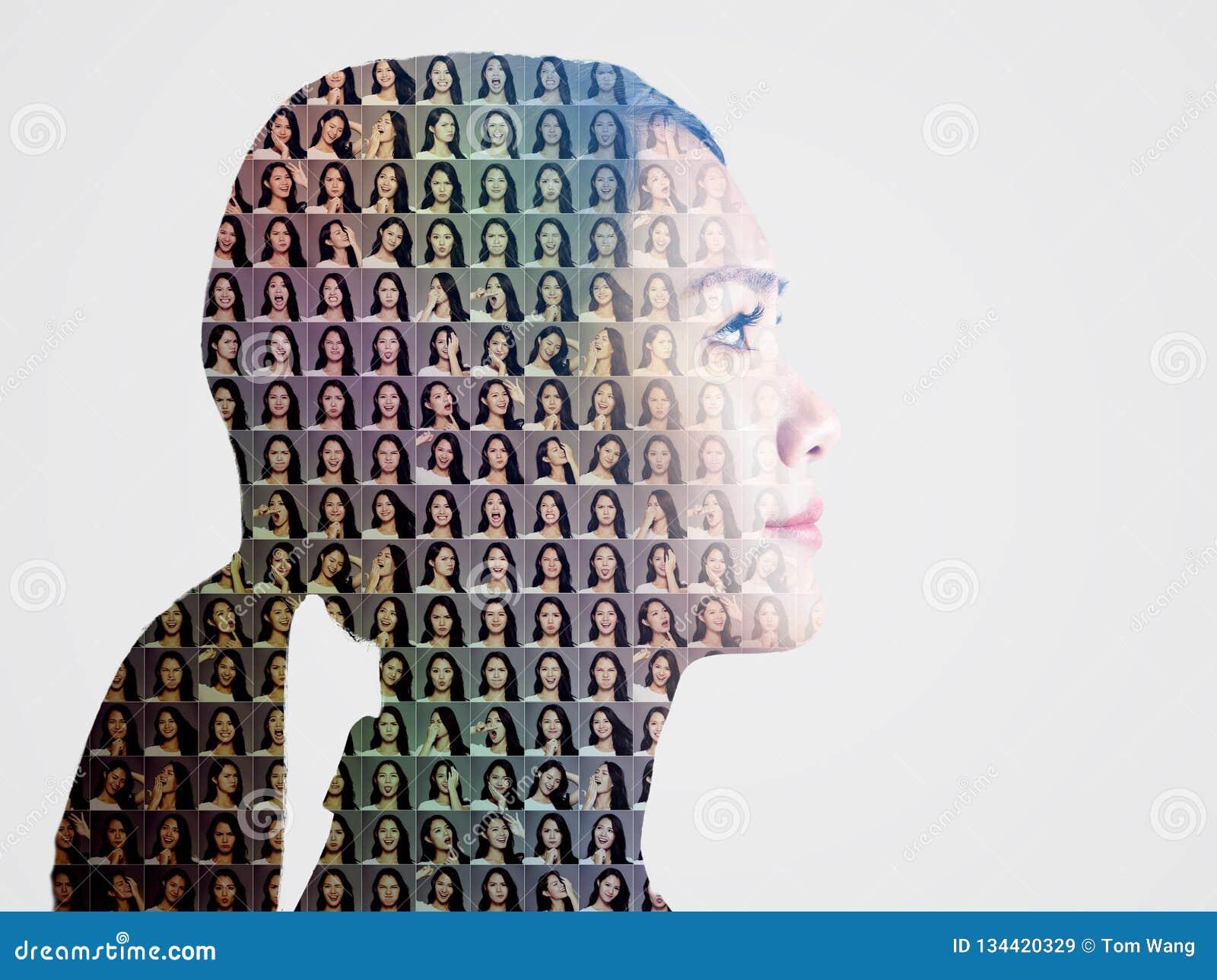 Collage con differenti emozioni nella stessa donna