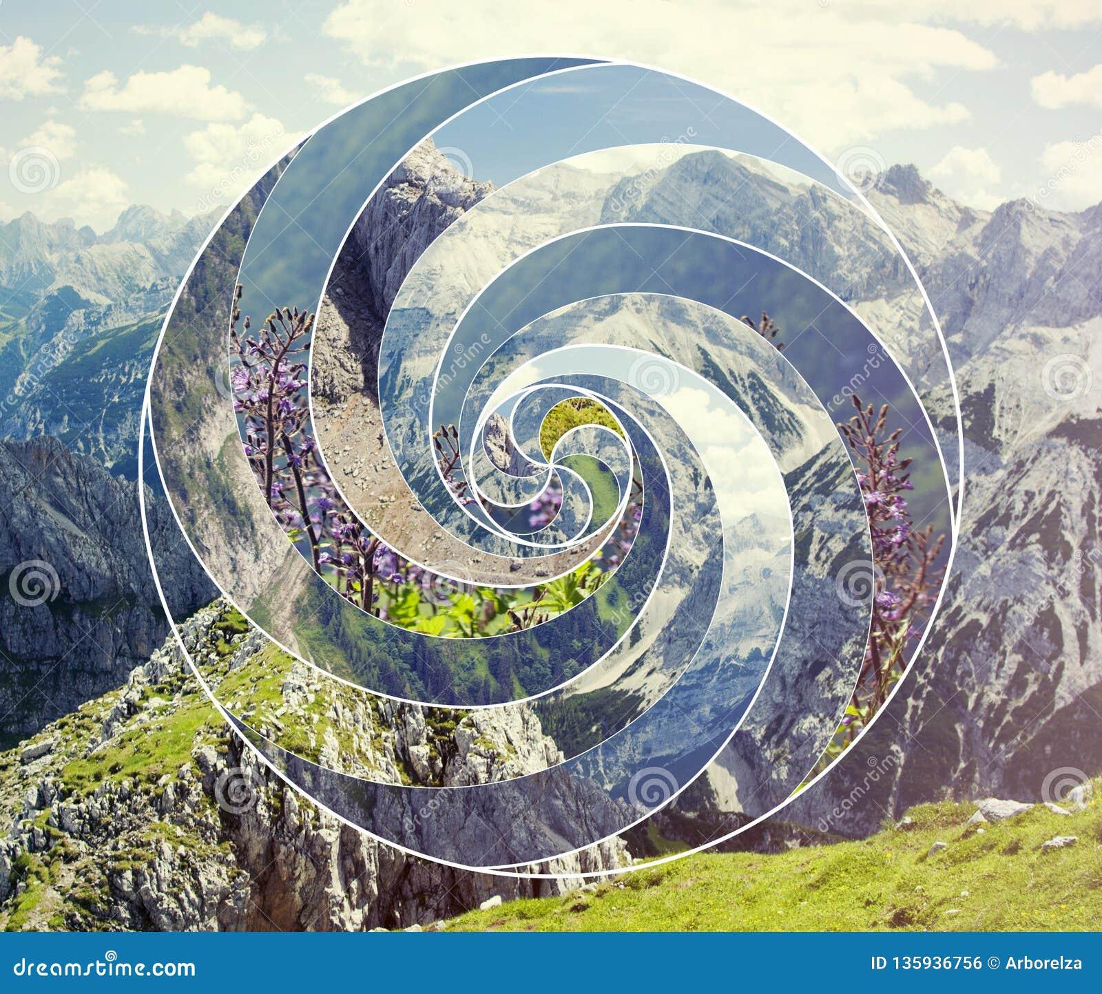 Collage con el paisaje y el espiral sagrado del símbolo de la geometría