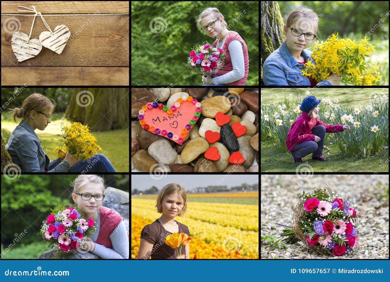 Collage con la muchacha, las flores y los corazones