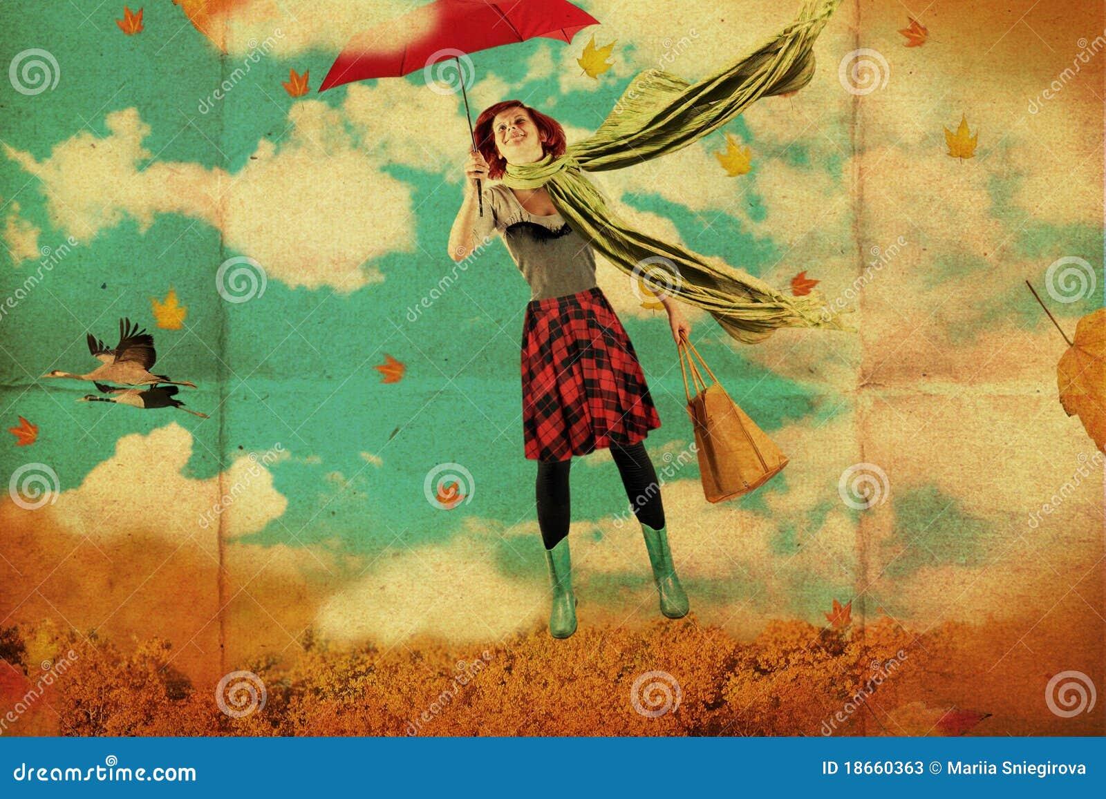 Collage con la mujer joven de la belleza, vendimia