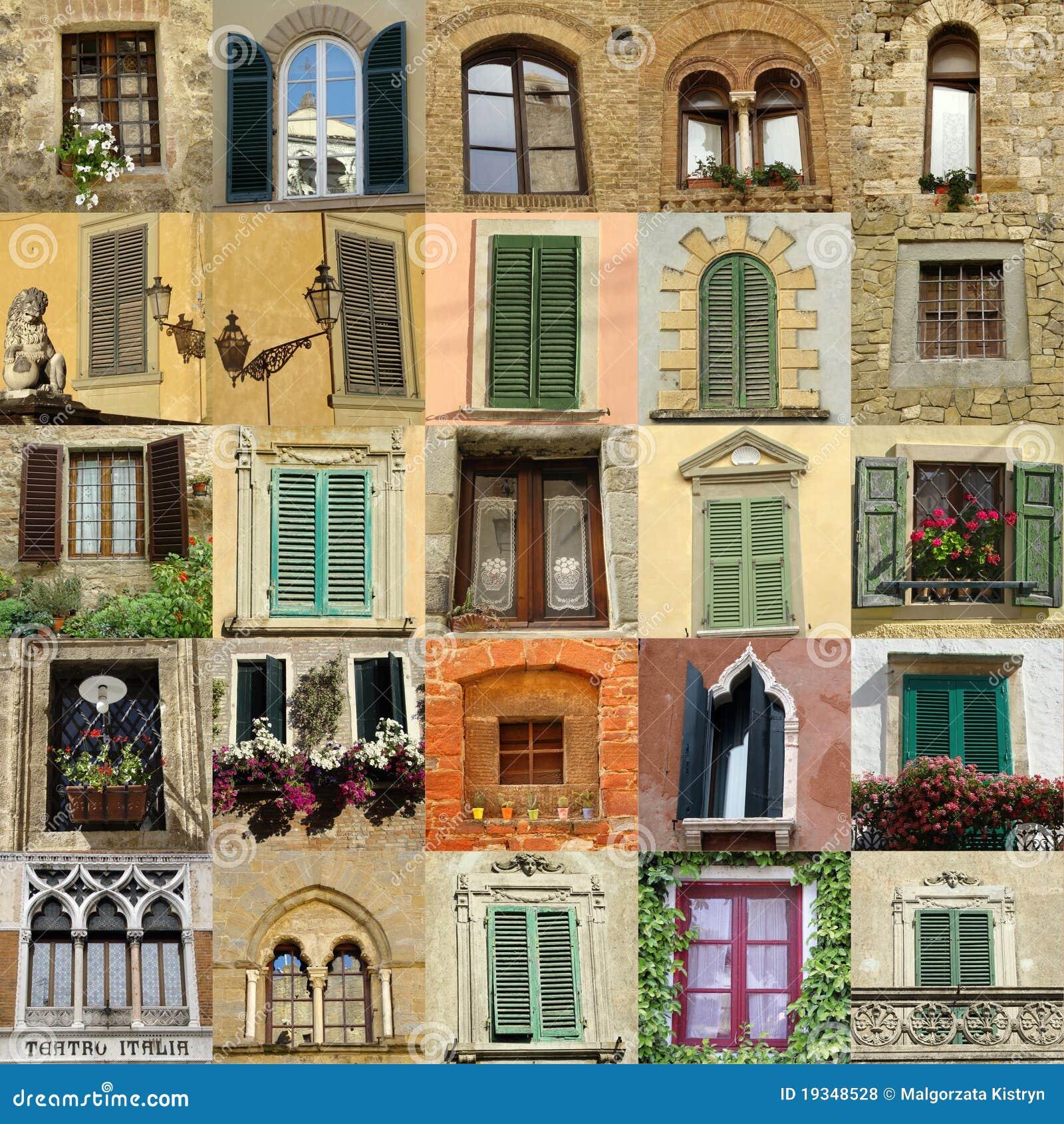 Collage con las ventanas antiguas en italia foto de - Finestra italiana ...