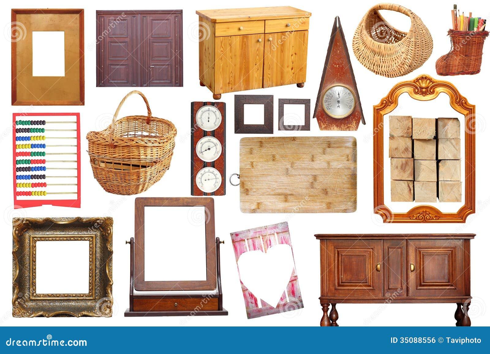 Collage con los objetos de madera antiguos imagen de for Objetos hechos con marmol