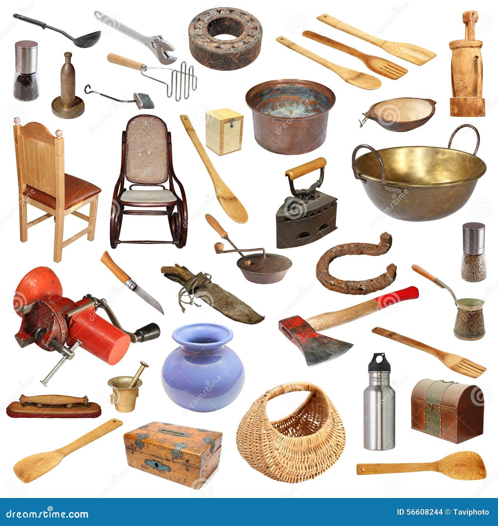 Collage con los objetos del vintage en blanco foto de archivo imagen 56608244 - Objetos vintage para decorar ...