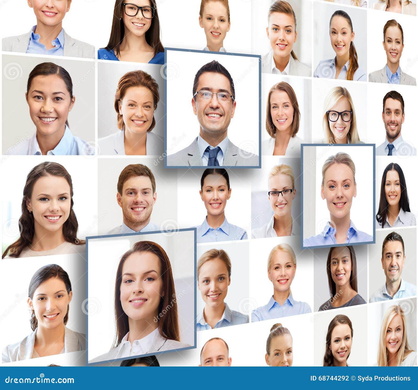 Collage con muchos hombres de negocios de los retratos