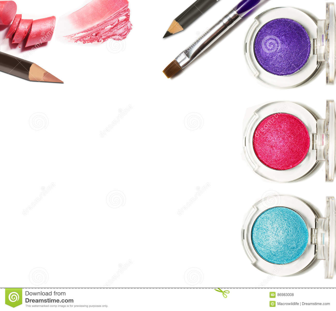 collage of cosmetics for professional makeup isolated on