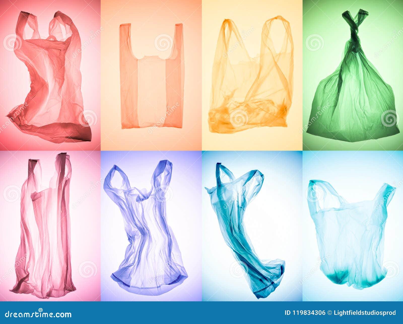 Collage creativo di vari sacchetti di plastica variopinti sgualciti